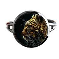 Fractal Animal Ring - Bird - Yellow Leopard - Wildlife Jewelry