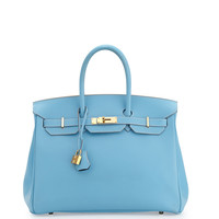 Hermès 35cm Special Order Horseshoe Leather Birkin Bag, Blue Celeste