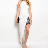 Lace Mini Insert Asymmetric Maxi Dress in White & Black