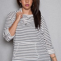 French Laundry Striped Funnel-Neck Pullover Plus Size Terry Top - Oatmeal