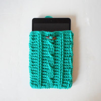 Cable Stitch Mini Tablet or e-Reader Cozy in Jade, ready to ship.