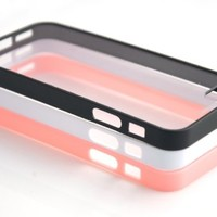 Costyle 3pcs/lot Colors Colorful Soft Trim High Clear Back Hard Cover Bumper Slim Case Skin for iPhone 5 5G 5S 5GS+2pcs Screen Protector+Free Crystal Stylus Touch Pen Wholesale Price -Black White Pink