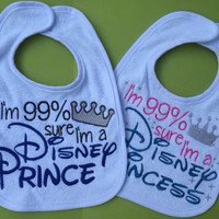 I'm a Disney Prince Princess Twins Baby Bibs, Disney Prince, Disney Princess, Baby Bib, Twins, Twin Shower Gift
