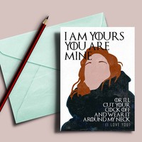 "Game of Thrones card, Ygritte Jon Snow ""I am yours and you are mine"""