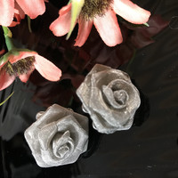 Beautiful Silver fine Mesh 3D Vintage Rose Earrings