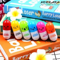 6 Pcs/lot Lovely Kawaii Smiling Face Vitamin Pill Ballpoint Pen Cute Stationery Telescopic Novelty Ballpen School Supplies