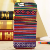 Handmade Rainbow Stripe Cloth Ethnic Style iPhone 6 6s Plus Case Cover Gift-171