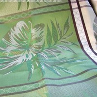 """io-H84 Indoor Outdoor Large Block Leaf Jacquard 60 x 84"""" Oblong Tablecloth Green Chocolate Brown"""