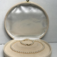 Antique Genuine 14K & Freshwater Pearl Necklace / String of Hand Knotted Vintage Pearls / 14K Gold Clasp / Beautiful Bridal Wedding Jewelry