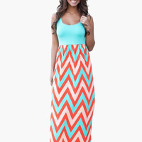 Geometric Print Sleeveless Empire Maxi Dress