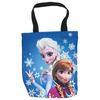 Frozen - Elsa & Anna Standing In Snowflakes Tote Bag