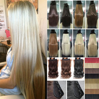 "23"" 43cm 30"" 76cm Women Long Straight Clip In On Full Head Hair Extension 10Color Sexy Hair"