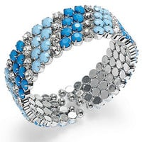 INC International Concepts Bracelet, Silver-Tone Blue Stone Clear Crystal Cuff Bracelet - All Fashion Jewelry - Jewelry & Watches - Macy's