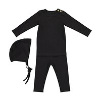 Lil Leggs Unisex-Baby Black Ribbed Set