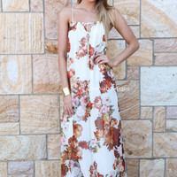 VINTAGE LOVE MAXI , DRESSES, TOPS, BOTTOMS, JACKETS & JUMPERS, ACCESSORIES, 50% OFF SALE, PRE ORDER, NEW ARRIVALS, PLAYSUIT, COLOUR, GIFT VOUCHER,,MAXIS,White,Print,Brown,SLEEVELESS Australia, Queensland, Brisbane