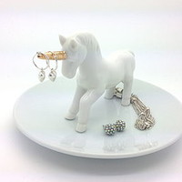 Ring And Trinket Dish White China Unicorn