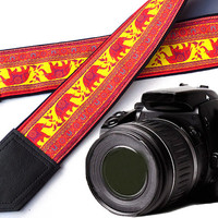Lucky Elephant camera strap. Ethnic camera strap. DSLR Camera Strap. Camera accessories. Photographer gift.