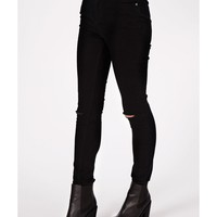 Missguided - Edie High Waist Ripped Knee Skinny Jeans In Matte Black