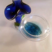 Single User Ashtray with Cobalt Blue Flower on Pedestal...SOLD OUT