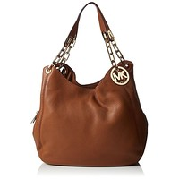 Michael Kors Fulton Large Leather Shoulder MK Bag Brown