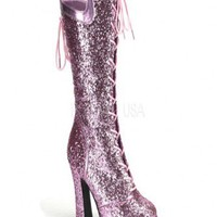 Baby Pink Glitter Laced Up Platform Boots @ Amiclubwear Boots Catalog:women's winter boots,leather thigh high boots,black platform knee high boots,over the knee boots,Go Go boots,cowgirl boots,gladiator boots,womens dress boots,skirt boots,pink boots,fash