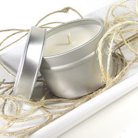 Vanilla Cotton scented Soy Candle - Hand Poured Soy Candle -- 4 ounce Tin