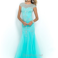 Blush Cap Sleeve Prom Gown 9966
