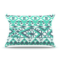 """Pom Graphic Design """"Tribal Simplicity"""" Teal Pillow Case"""