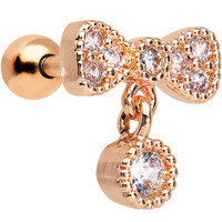 16 Gauge Rose Gold Anodized Clear CZ Bow Cartilage Tragus Earring | Body Candy Body Jewelry
