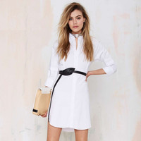White V-Neck Sleeve Asymmetrical Dress Shirt