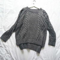 Gray Long-Sleeve Asymmetrical Knitted Sweater