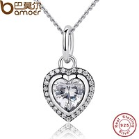 BAMOER 2017 New Arrival Luxury 925 Sterling Silver Love Heart Pendant Necklace for Women Wedding Fine Jewelry PAS260