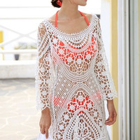White Floral Lace Crochet Beach Dress