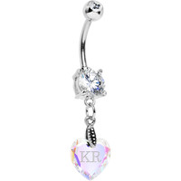 Custom Crystal Aurora Heart Personalized Belly Ring   Body Candy Body Jewelry