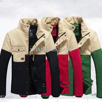 NEW Winter clothing Warm color matching jacket men coat Male favors warm coat men jacket
