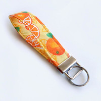 Orange Key Fob / Oranges Keychain / Fruit / Wrist Lanyard / Wristlet / Keychain Lanyard / Food Accessories / Back to School / Key Chain