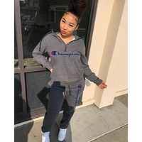 Champion Newest Popular Women Casual Print Long Sleeve Hoodie Top Pants Set Two-Piece Sportswear Grey