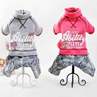 Pet Clothes For Dogs Dog Clothes Sportswear With Jeans Cat Sport Jumpsuit Spring And Autumn Jacket Puppy Clothing