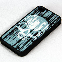 Grunge Pattern Skull iPhone 4 iPhone 4S Case, Rubber Material Full Protection