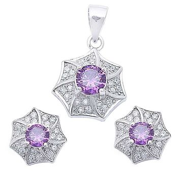 Designer Pave & Round 4.00 ct Amethyst & White Topaz Earrings & Pendant Set