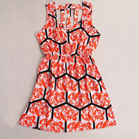 Floral Hollow Out Elastic Waist Dress