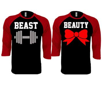 Beast and Beauty Couple Black / Red Baseball T-shirt