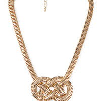 FOREVER 21 Knotted Statement Necklace Gold One