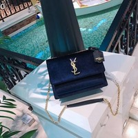 NEW 2018 YSL Women Shopping Leather Metal Chain Crossbody Satchel Shoulder Bag