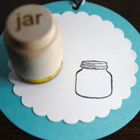 Mason Jar Stamp Small Stamp for gift tags, back of handmade cards, business owners