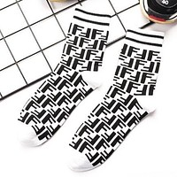 FENDI Trending Unisex Casual Stylish F Letter Cotton Sport Socks White