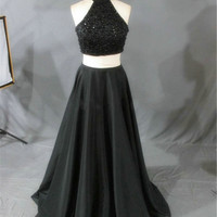Real Photo Black Two Pieces Halter Neckline Beading Satin Long Prom Dress Sleeveless Formal Party Evening Gowns Dresses Vestido