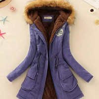 Thick Hooded Drawstring Design Embroidery Fleece