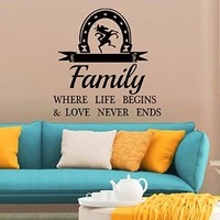 Wall Decals Family Where Life Begins Quote Decal Vinyl Sticker Horseshoe Home Decor Bedroom Dorm Living Room MN 274