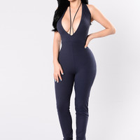 Jump Around Jumpsuit - Navy